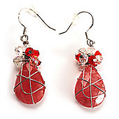 Exquisite Pink Bead Wire Drop Earrings (Silver Tone)