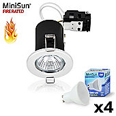 Pack of 4 MiniSun Fire Rated 5W Daylight LED Daylight GU10 Downlights in White