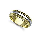 Bespoke Hand-Made 18 carat Yellow & White Gold 6mm Mill Grain Wedding / Commitment Ring,