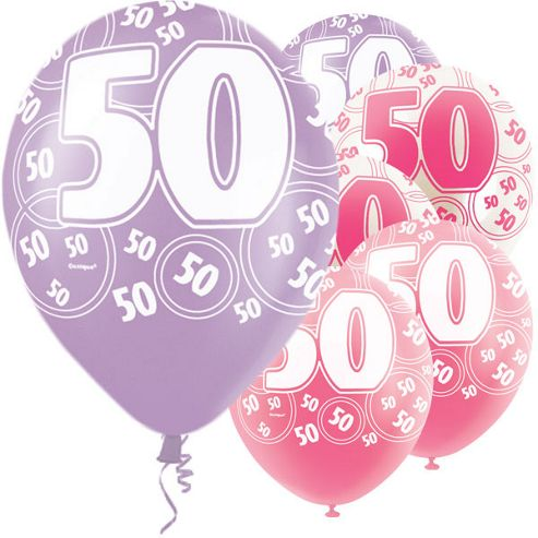 50th Birthday Pink & Lilac Balloons - 6 Pack