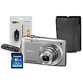 DS Nikon Coolpix S3300 Silver Camera Kit inc Leather Case, 8GB SD & USB Card Reader