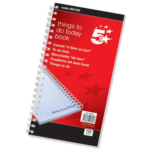 5 Star Things To Do Today Book Wirebound Months 115 Pages 280x14mm