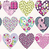 Patchwork Heart Wallpaper - Purple - Arthouse 668501