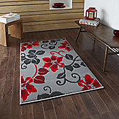 Oriental Carpets & Rugs Modena Grey/Red Budget Rug - 115 cm x 170 cm (3 ft 9 in x 5 ft 7 in)