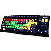 Accuratus Monster2 Lower Case Mixed Colour USB Learning Keyboard with Extra Large Keys and 2 Port USB 2.0 Hub