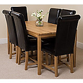 Bevel Solid Oak 150 cm with 6 Washington Leather Chairs (Black)