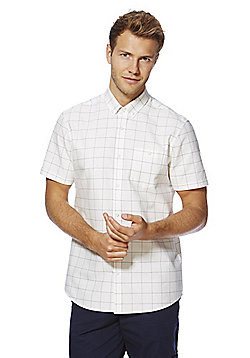 F&F Windowpane Check Contemporary Fit Short Sleeve Shirt - Cream