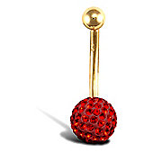 Jewelco London 9ct Yellow Gold Belly Bar with crystal-set end bead - Red Sian