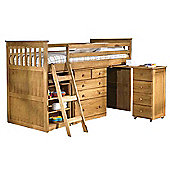 Amani Mid Sleeper Cabin Bunk Bed - Waxed Pine