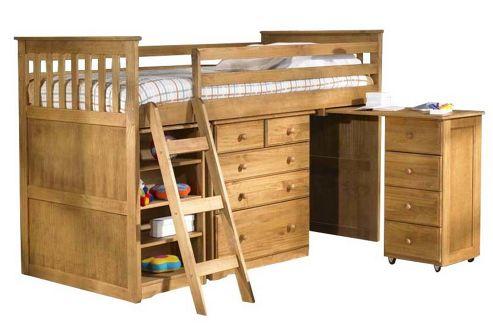 Amani Mid Sleeper Cabin Bunk Bed - Waxed Pine