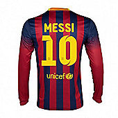2013-14 Barcelona Home Long Sleeve Shirt (Messi 10) - Red