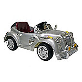 Kids Electric Car Vintage Sports Car 12 Volt Silver Gloss
