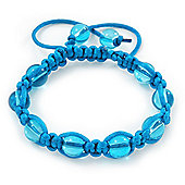 Unisex Blue Glass Bead Teen Shamballa Bracelet On Silk String