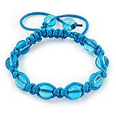 Unisex Blue Glass Bead Teen Shamballa Bracelet On Silk String