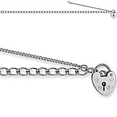 Jewelco London Rhodium Coated Sterling Silver charm Charm Bracelet - 9mm Guage