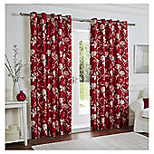 "Silhouette Floral Eyelet Curtains W229xL183cm (90x72""), Red"
