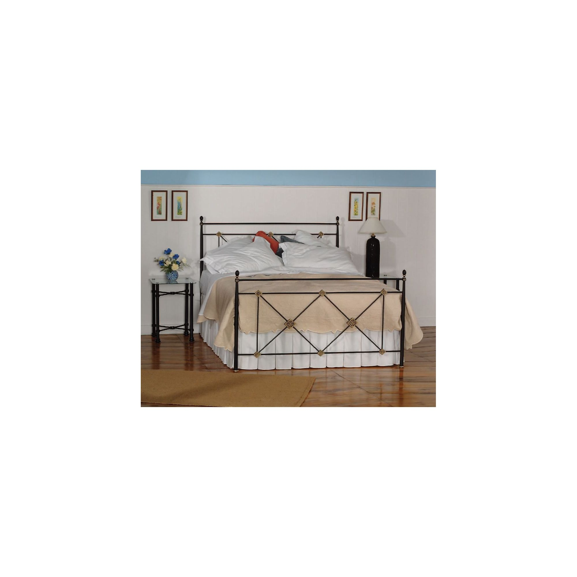 OBC Maine Bed Frame - Double - Glossy Ivory at Tesco Direct