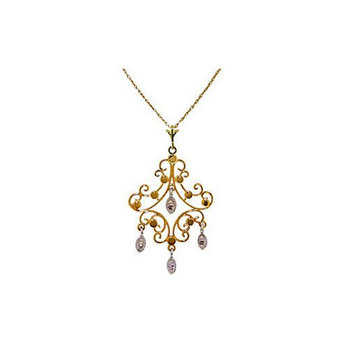 QP Jewellers 18in 1.15mm Necklace with 0.02ct SI-2 Diamond Pendant in 14K Gold