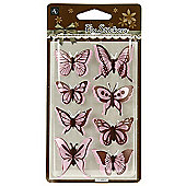 Gingham Butterfly Stickers - Pink/Brown