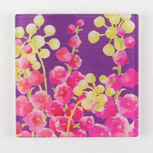 Artistic Britain Holly Hocks by Jane Bridges Glass Print Art