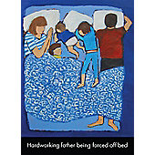 Holy Mackerel Father Forced off Bed Greetings Card