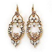 Vintage Inspired Diamante Filigree Oval Drop Earrings With Leverback Closure In Gold Plating - 55mm Lenght