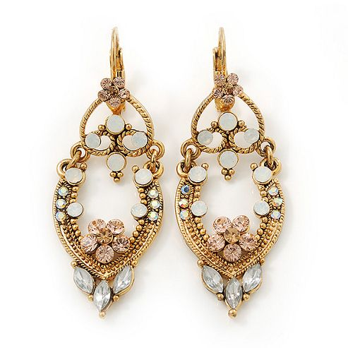 Vintage Inspired Diamante Filigree Oval Drop Earrings With Leverback Closure In Gold Plating - 55mm Length