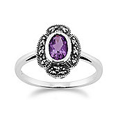 Gemondo Sterling Silver 0.35ct Amethyst & 9pt Marcasite Art Deco Style Ring