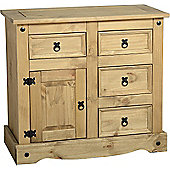 Corona Mexican 1 Door 4 Drawer Sideboard Distressed Waxed Pine