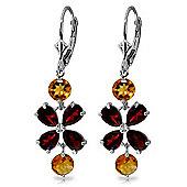QP Jewellers Citrine & Garnet Blossom Bloom Earrings in 14K White Gold