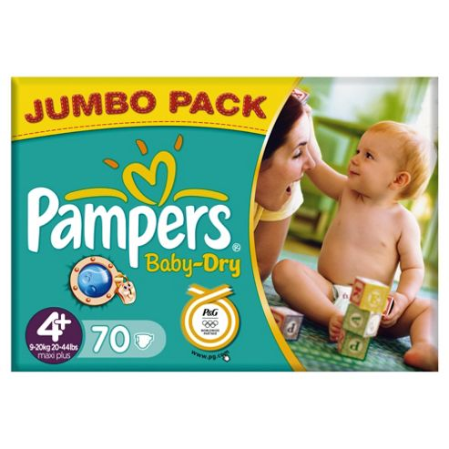 Pampers Baby Dry Jumbo Maxi Plus 70 (Size 4+)