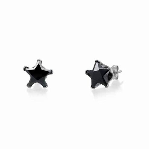 Urban Male Men's Sterling Silver 8mm Black Star CZ Stud Earrings