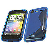Solid Blue Wave Silicone Crystal Twin Case - HTC Incredible S