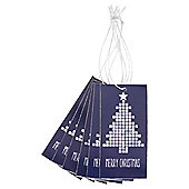 Blue and Silver Geo Tree Christmas Gift Tags, 6 Pack