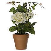 45cm Artificial Diana Rose In Terracotta Pot