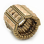 Wide 'Spiky' Stretch Band Ring In Burn Gold Metal - 20mm Width - Size 6/7