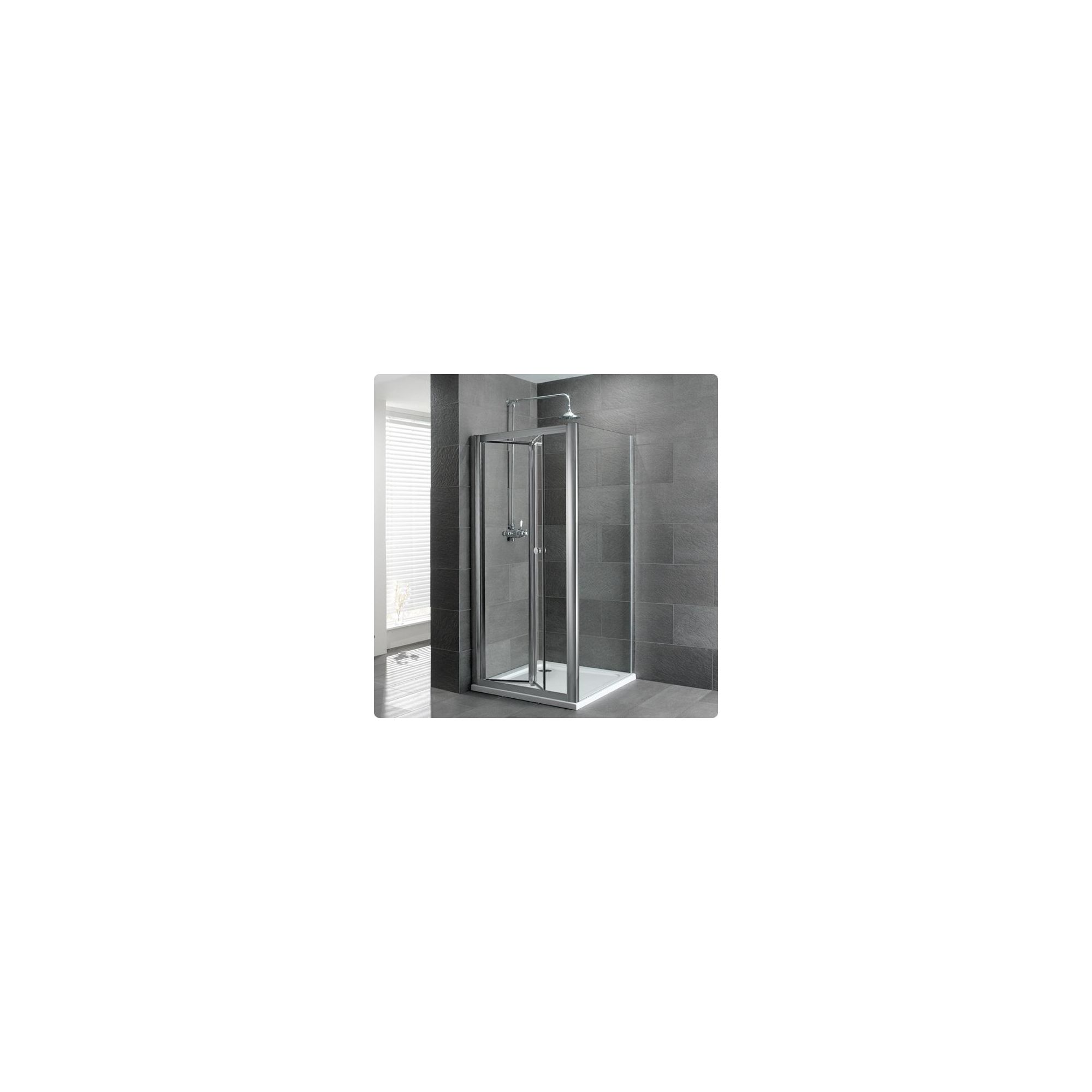 Duchy Select Silver Bi-Fold Door Shower Enclosure, 900mm x 700mm, Standard Tray, 6mm Glass at Tesco Direct