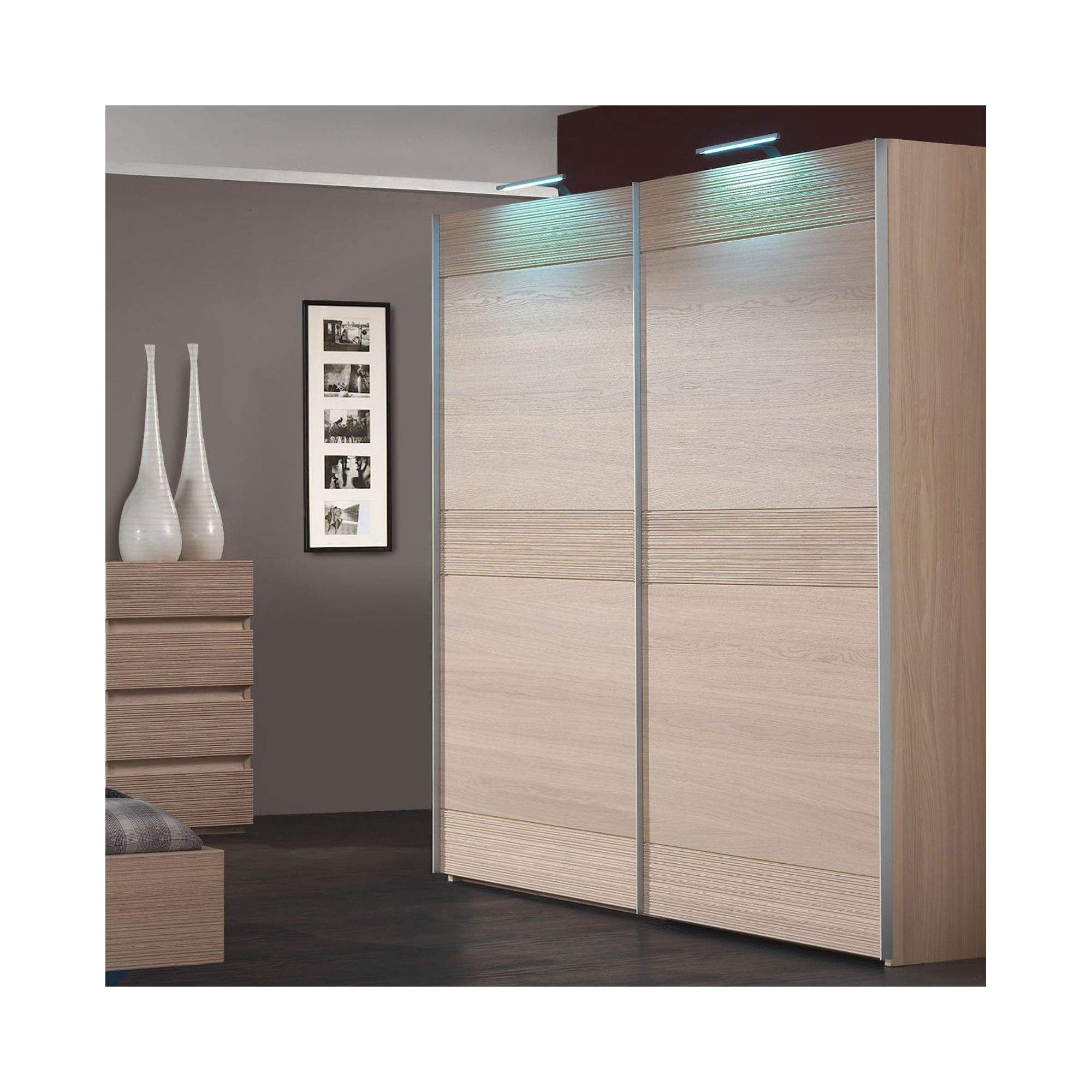 Sleepline Diva Wardrobe with 4 Shelves - 229cm - Grey Mat Lacquered - With Mirror at Tesco Direct