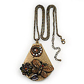 Long Vintage 'Butterfly&Flower' Pendant Necklace In Bronze Finish - 70cm Length/ 6cm Extension