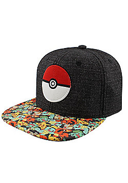 Pokemon Pokeball Characters Snapback Cap Grey - Silver