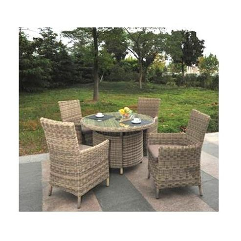 Modena Four Seat Dining Set - 120cm Table With Four Carver Chairs - 5mm Round Modena Weave
