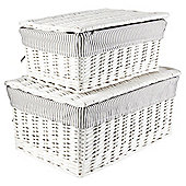 White Wicker Grey Striped Lined Lidded Baskets 2Pk