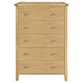 Ruskin 5 Drawer Tall Chest, Solid Oak