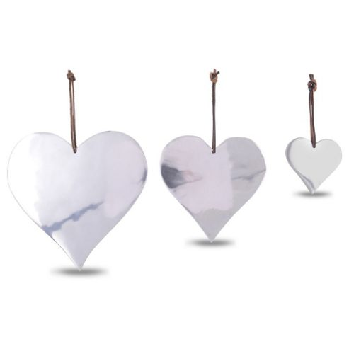 Set of Three Heart Shaped Aluminium Hanging Christmas Decorations