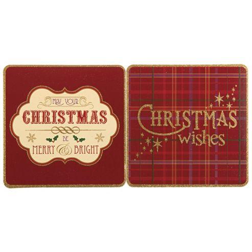 Tesco Tartan Christmas Cards, 12 Pack