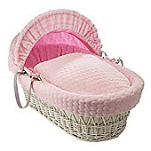 Clair de Lune White Wicker Moses Basket (Marshmallow Pink)