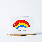 Yellow Owl Workshop Card - Happy Birthday Rainbow