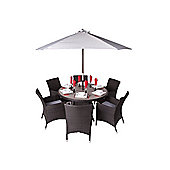 Theodora 6 Seater Round Rattan & Plaswood Set With Premium Arm Chairs - Outdoor/Garden table and Chair set.