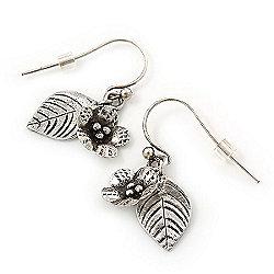 Small Antique Silver Flower & Leaf Drop Earrings - 30mm Length