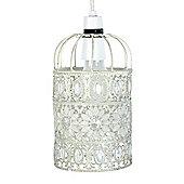 Avis Shabby Chic Style Birdcage Ceiling Light Shade in Gloss White